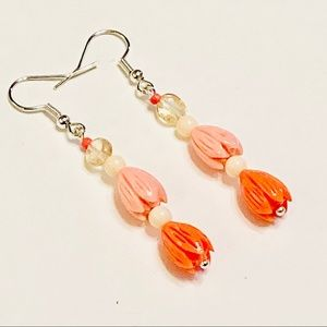 Double-Peach Tulip Two-Step Citrine Earrings
